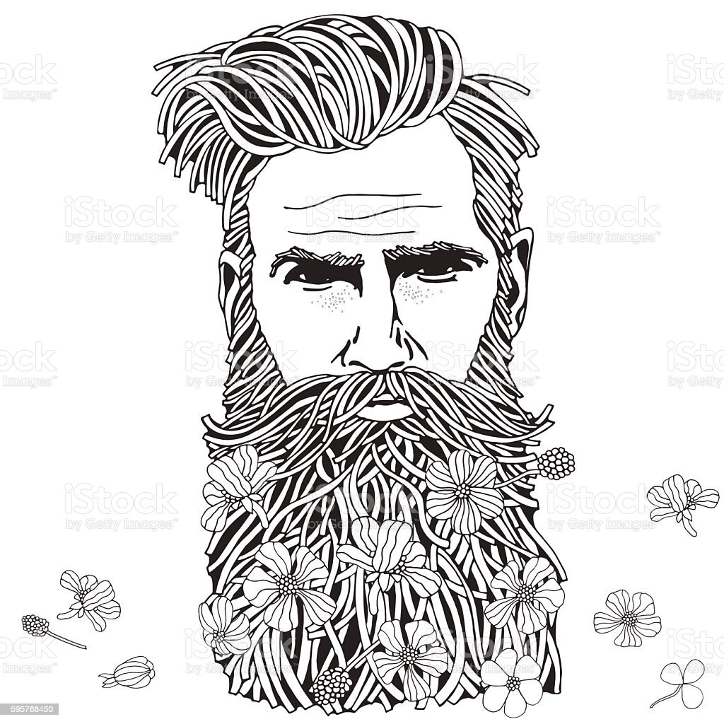 Bearded Hipster Man Coloring Book Page For Adult stock vector art