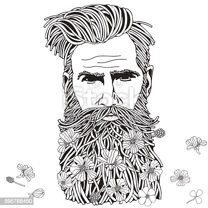 Bearded Hipster Man Coloring Book Page For Adult Stock
