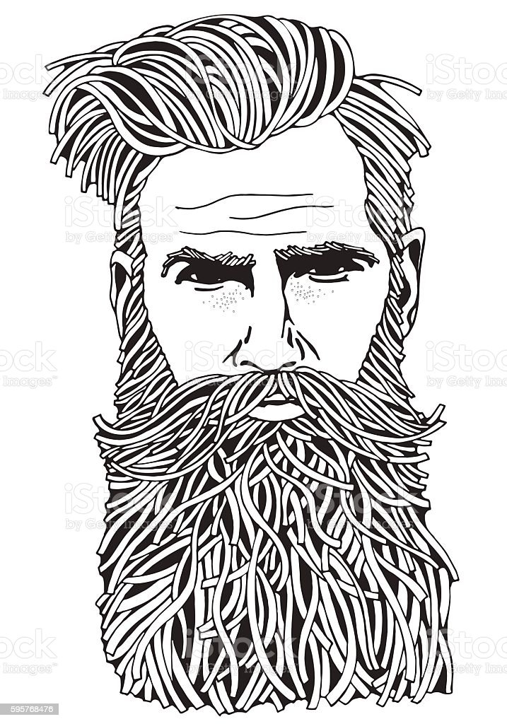 Bearded Hipster Man Coloring Book Page For Adult Royalty Free Stock Vector Art