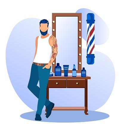 Bearded Hipster Man Stand near Mirror Barbershop