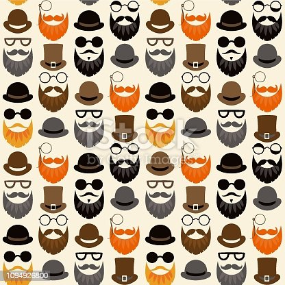 Bearded Hipster seamless pattern with glasses and hat on. Lumber sexual or Urban Lumberjack background. - Vector