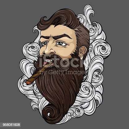 istock Bearded hipster with cigar in clouds of smoke. 958081608