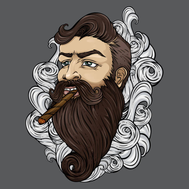 stockillustraties, clipart, cartoons en iconen met bebaarde hipster met sigaar in de wolken van rook. - guy with cigar