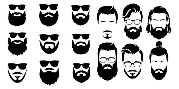 ilustrações de stock, clip art, desenhos animados e ícones de bearded icon set vector illustration white background - barba