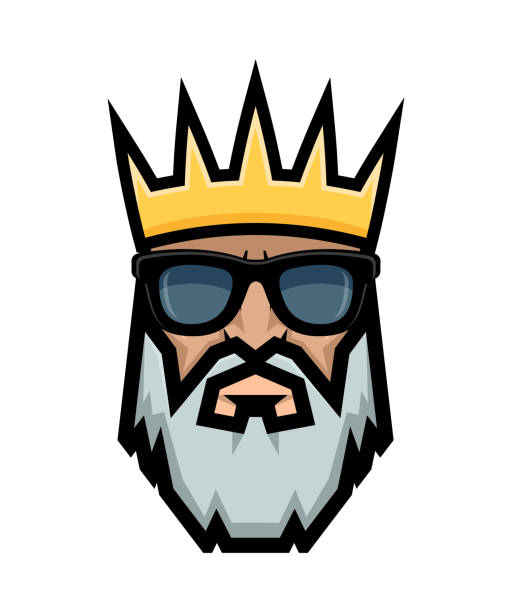 Bearded king wearing sunglasses. Emperor logo. Bearded king wearing sunglasses. Emperor logo. suave stock illustrations