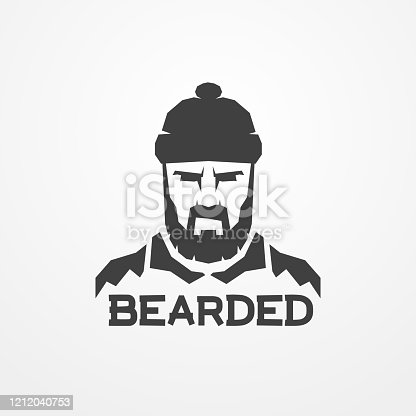 Face of a bearded lumberjack in hat. Head of a worker man in flat silhouette style. Shop logotype, badge or design element. Lumberjack vector stock image.