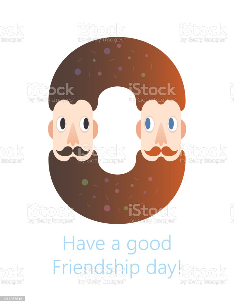Bearded Males Friendship Donut Logo Happy Friendship Day Vector Fun