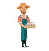 bearded man as farm worker