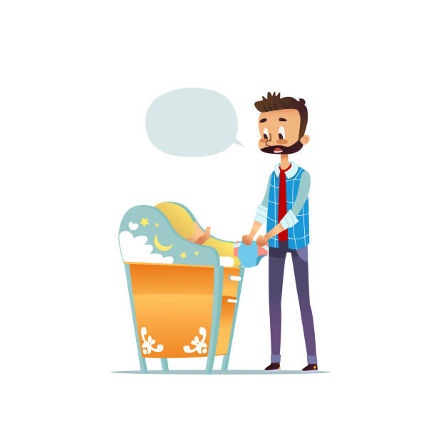 7731e4498f62 Bearded man changing diaper of newborn baby. Dad taking care of child and  blank speech · Baby changing table vector ...