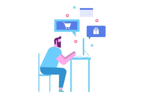 수염 난된 남자 컴퓨터에 온라인 쇼핑 앉아 할. - online shopping stock illustrations