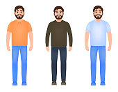 Bearded man dressed in jeans, t-shirt, sweater and sneakers, happy man, character in cartoon style
