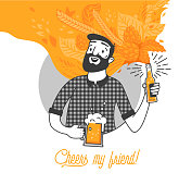 Bearded man drinking cold beer vector illustration and cheers my friend typography design. Hipster man with beard holding a glass and a bottle beer. Clean flat design for bar and menu design.