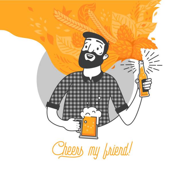 stockillustraties, clipart, cartoons en iconen met bebaarde man drinken koud bier vector illustratie en cheers mijn vriend typografie ontwerp. hipster man met baard met een glas en een fles bier. schoon plat ontwerp voor bar en menu design. - bier