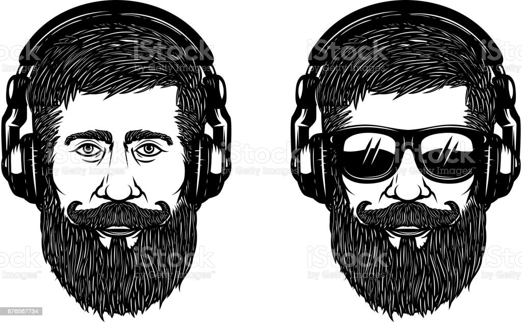 Bearded man face with sun glases and headphones. Design element for poster, emblem, label, t shirt. Vector illustration vector art illustration