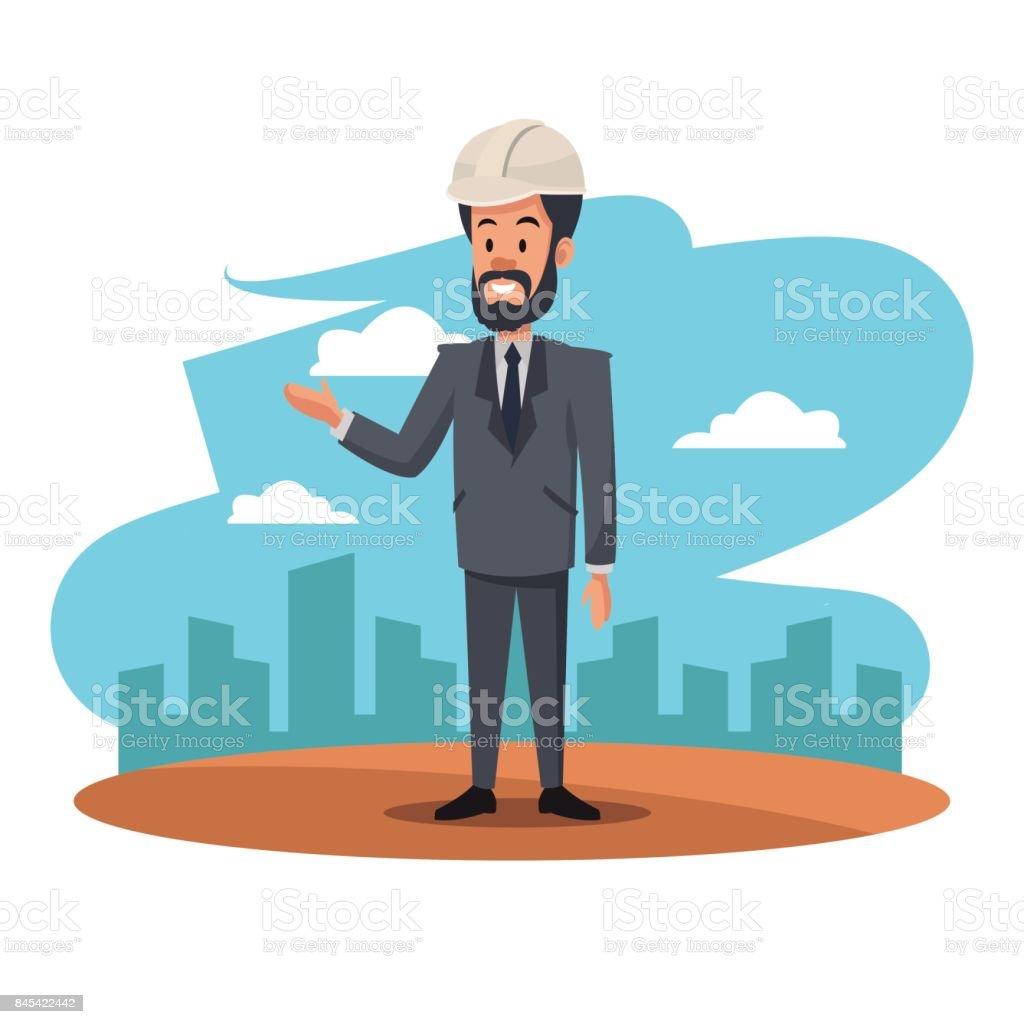 bearded man helmet suit manager work cityscape vector art illustration