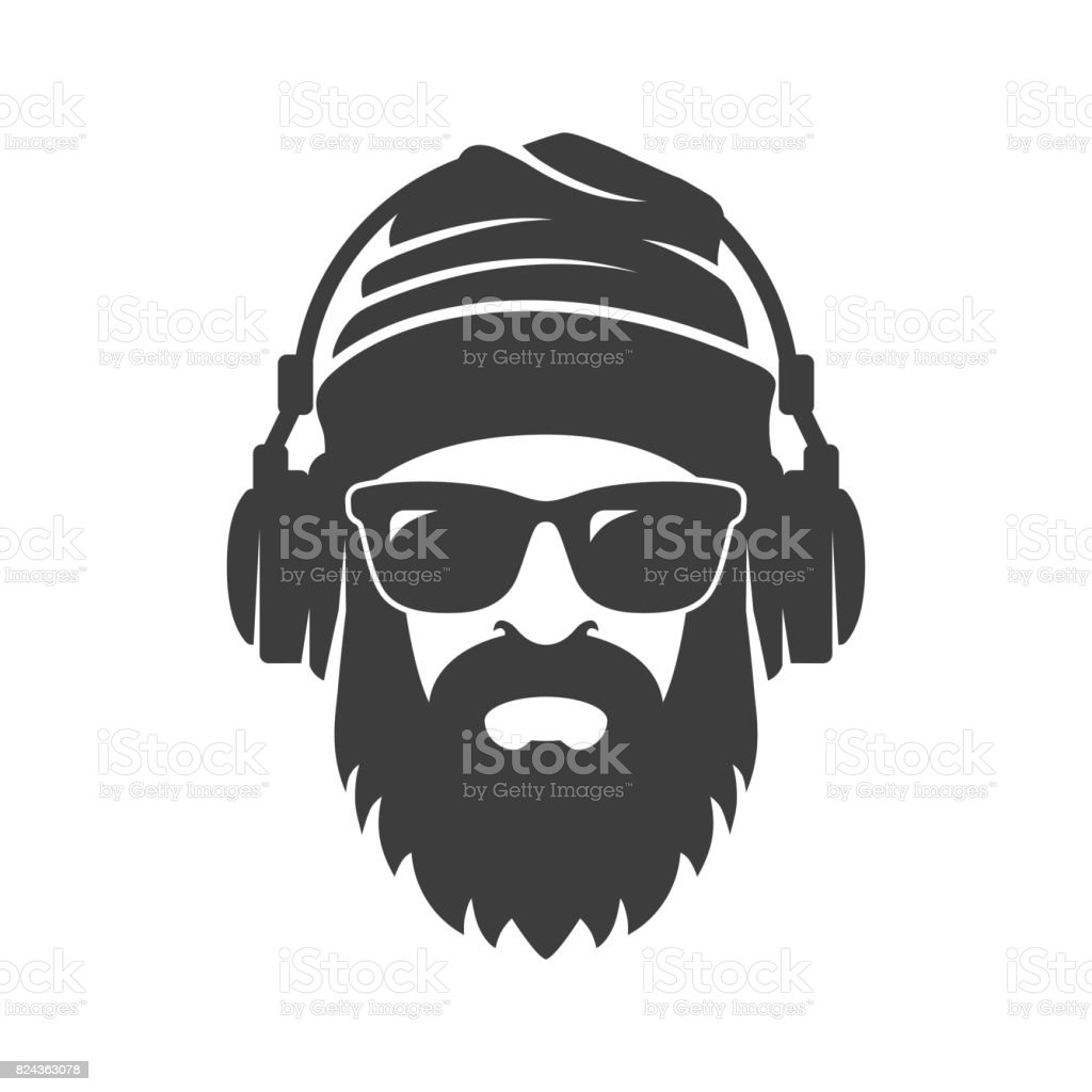 Bearded man in a knitted hat, sunglasses and headphones. DJ Hipster vector art illustration