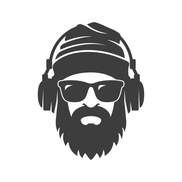 Bearded man in a knitted hat, sunglasses and headphones. DJ Hipster Bearded man in a knitted hat, sunglasses and headphones. DJ Hipster suave stock illustrations