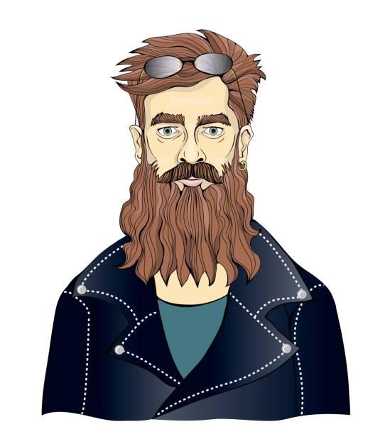 ilustrações, clipart, desenhos animados e ícones de um homem barbudo em jaquetas de couro preto. motociclista de moto ou fã da música rock. ilustração de retrato vetorial, isolado no branco. - moda urbana