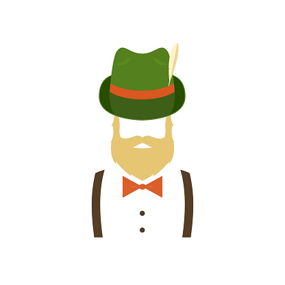 Bearded man in green traditional german hat. Hipster icon. Vector illustration isolated on white background.