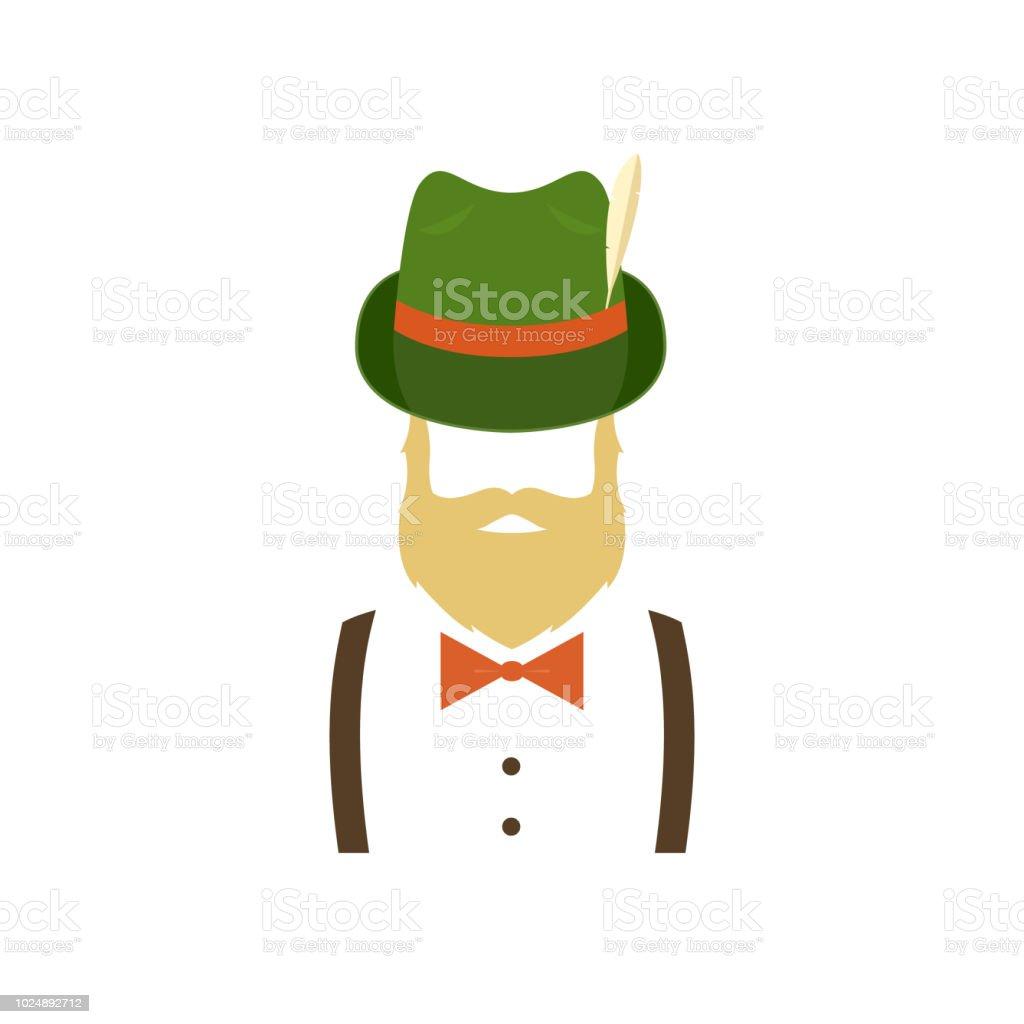 Bärtiger Mann in grünen traditionellen deutschen Hut. Hipster-Symbol. Vektor-Illustration isoliert auf weißem Hintergrund. – Vektorgrafik