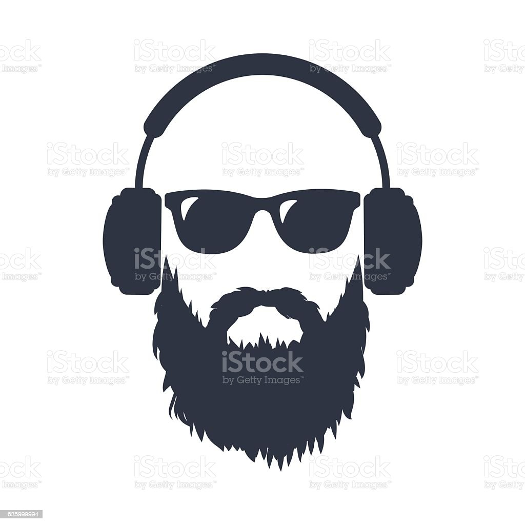 Bearded man in sunglasses and headphones vector art illustration