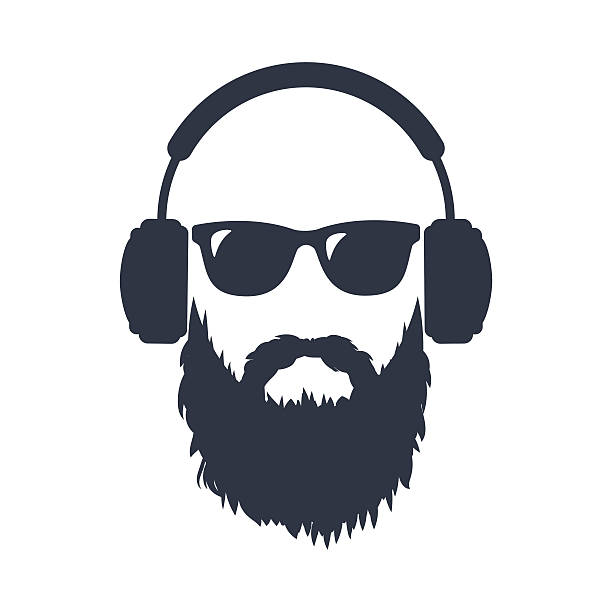 bearded man in sunglasses and headphones - 힙스터 사람 stock illustrations