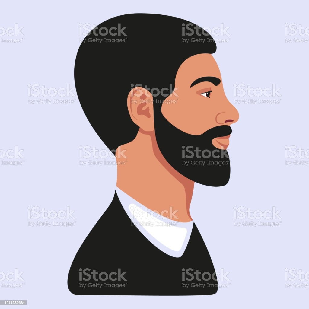 Bearded Man Profile Avatar Black Hair Vector Illustration Stock Illustration Download Image Now Istock