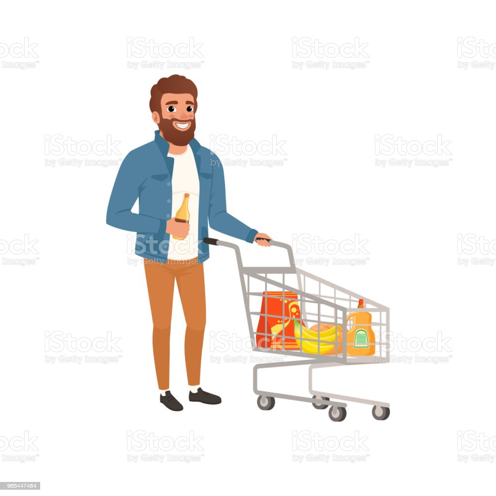 Bearded man pushing shopping cart with groceries. Cartoon character of young guy at supermarket. Flat vector design royalty-free bearded man pushing shopping cart with groceries cartoon character of young guy at supermarket flat vector design stock vector art & more images of adult