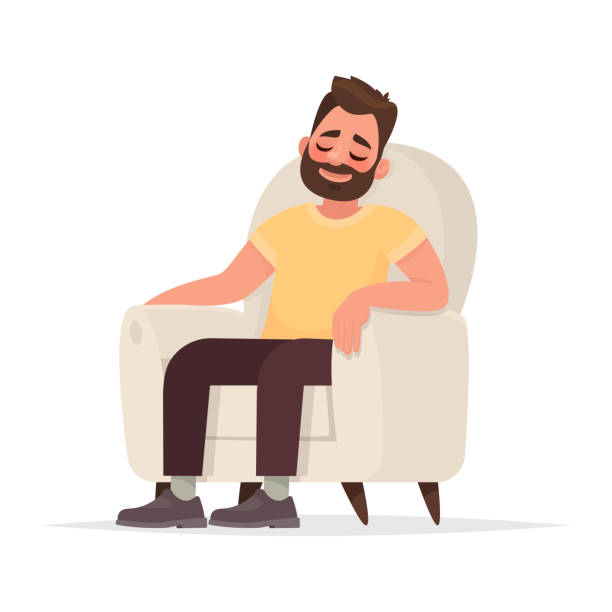 illustrazioni stock, clip art, cartoni animati e icone di tendenza di bearded man sits in an armchair and sleeps. a person is resting or thinking about something good - guy sofa