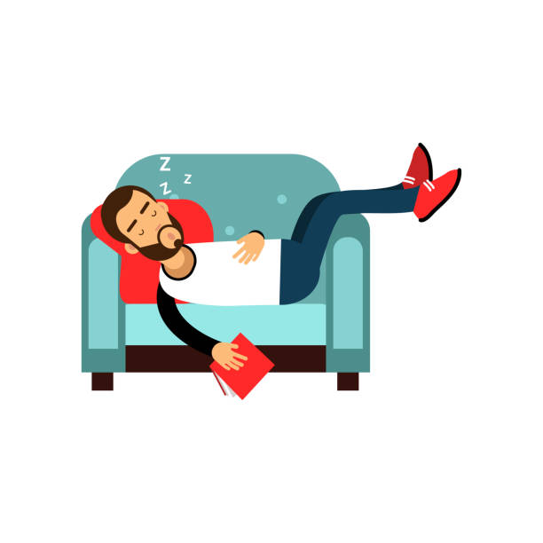 Bearded man sleeping on armchair with book, relaxing person cartoon vector illustration Bearded man sleeping on armchair with book, relaxing person cartoon vector illustration isolated on a white background man sleeping stock illustrations