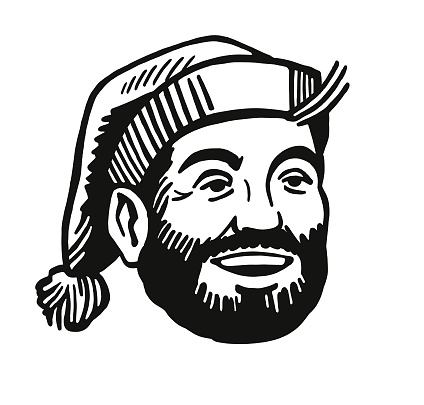 Bearded Man Wearing a Stocking Cap