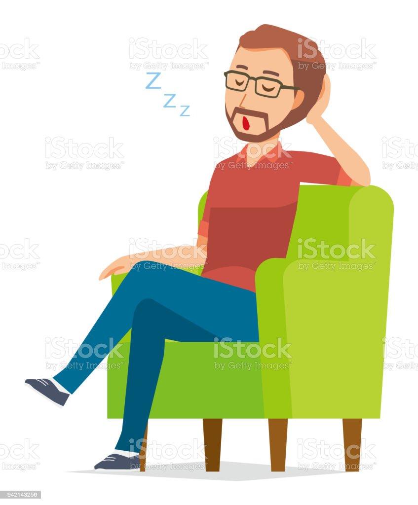 ein b rtiger mann mit brille ist auf dem sofa schlafen stock vektor art und mehr bilder von. Black Bedroom Furniture Sets. Home Design Ideas