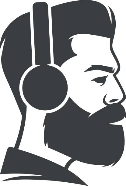 Bearded man wearing headphones Bearded man wearing headphones suave stock illustrations