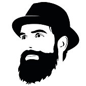 Vector Bearded Skull Ilration On White Background