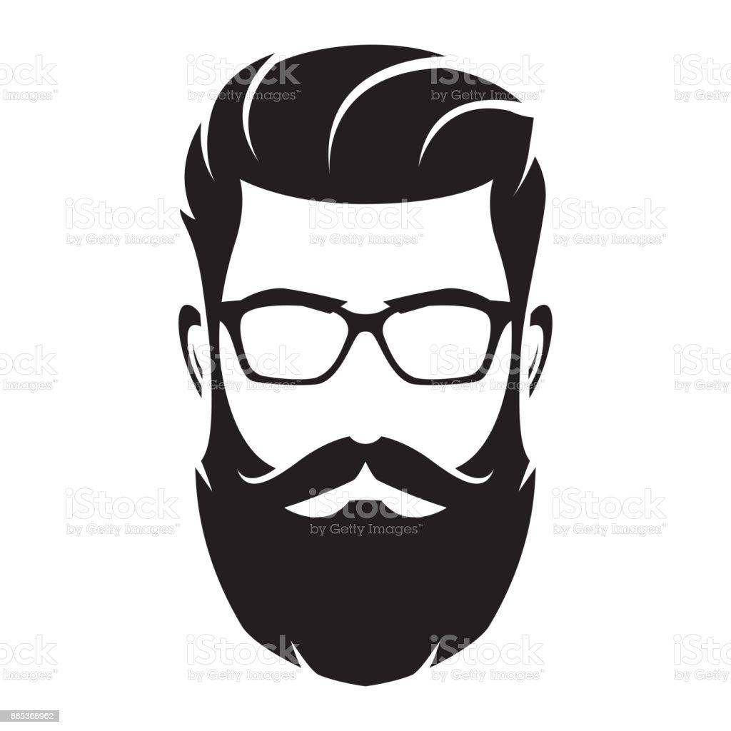 Rosto do homem barbudo, personagem de hipster. Silhueta de moda, avatar, emblema, ícone, rótulo. Ilustração em vetor. - ilustração de arte em vetor