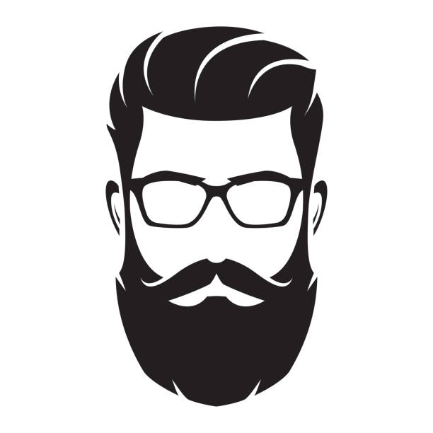 ilustrações de stock, clip art, desenhos animados e ícones de bearded man's face, hipster character. fashion silhouette, avatar, emblem, icon, label. vector illustration. - barba