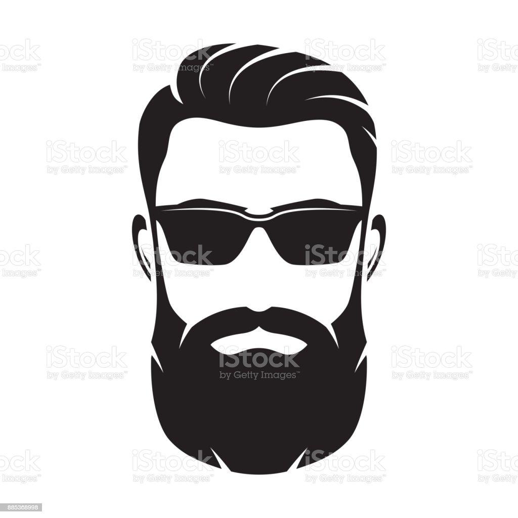 Ilustración de Cara De Hombre Con Barba Carácter Inconformista ...