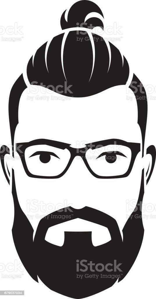 Bearded men face, hipster character. Vector illustration. vector art illustration