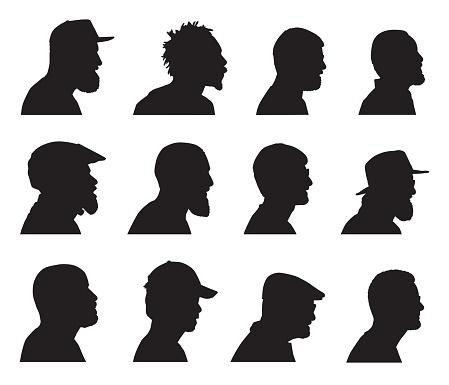 Bearded Men Head Profiles