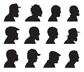 Vector silhouettes of twelve bearded men head silhouettes.