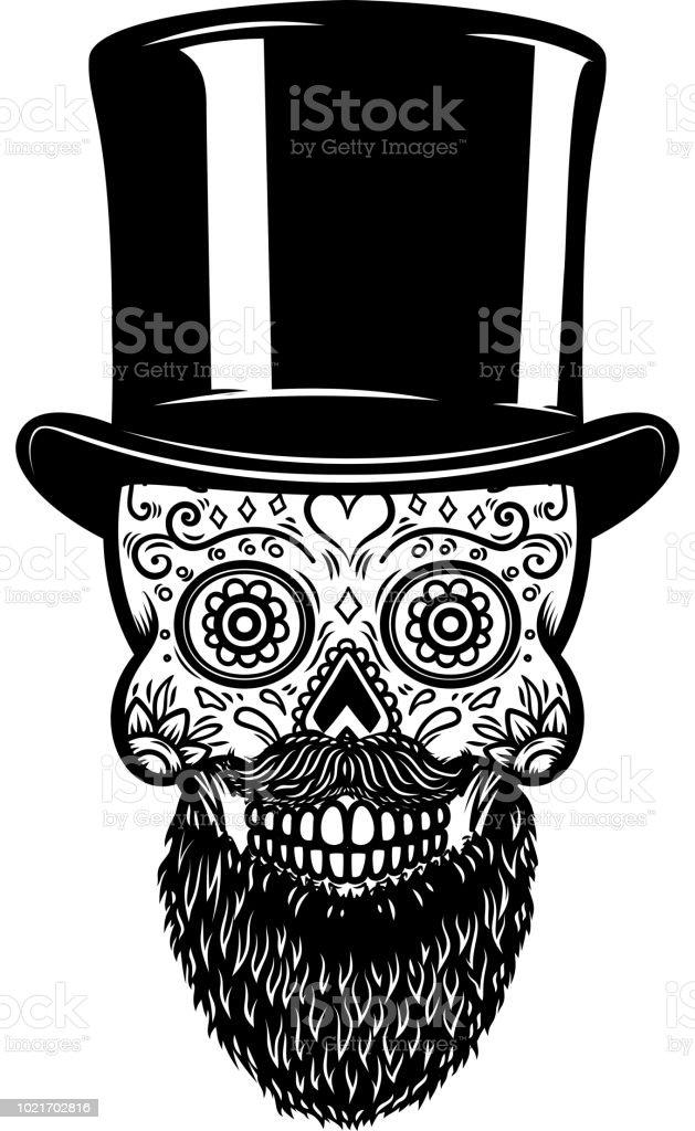 Ilustración De Barbudo De Calavera De Azúcar Mexicana En Sombrero De