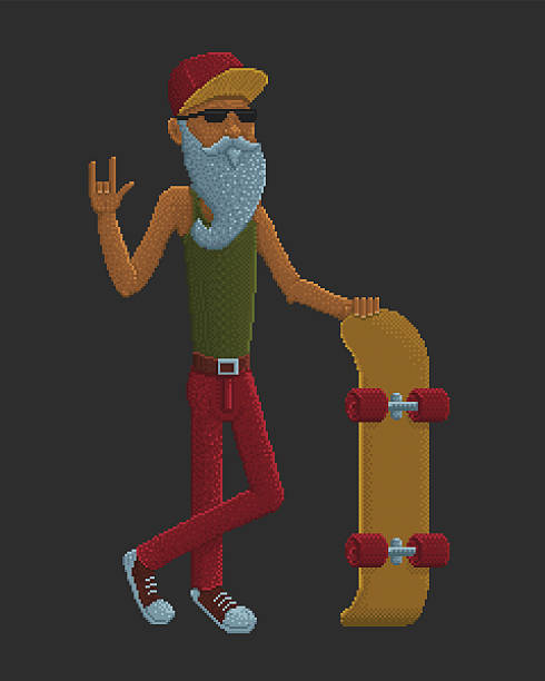 bearded old man with skateboard - old man shoes stock illustrations, clip art, cartoons, & icons