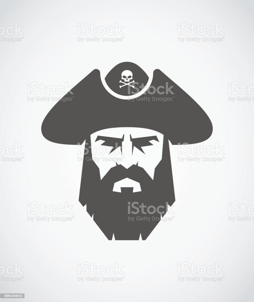 Bearded pirate vector art illustration