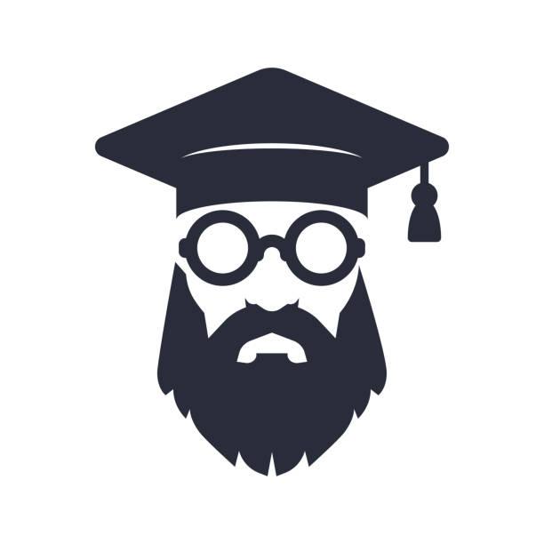 bärtige professor oder alte absolvent mit runden gläsern - dozenten stock-grafiken, -clipart, -cartoons und -symbole