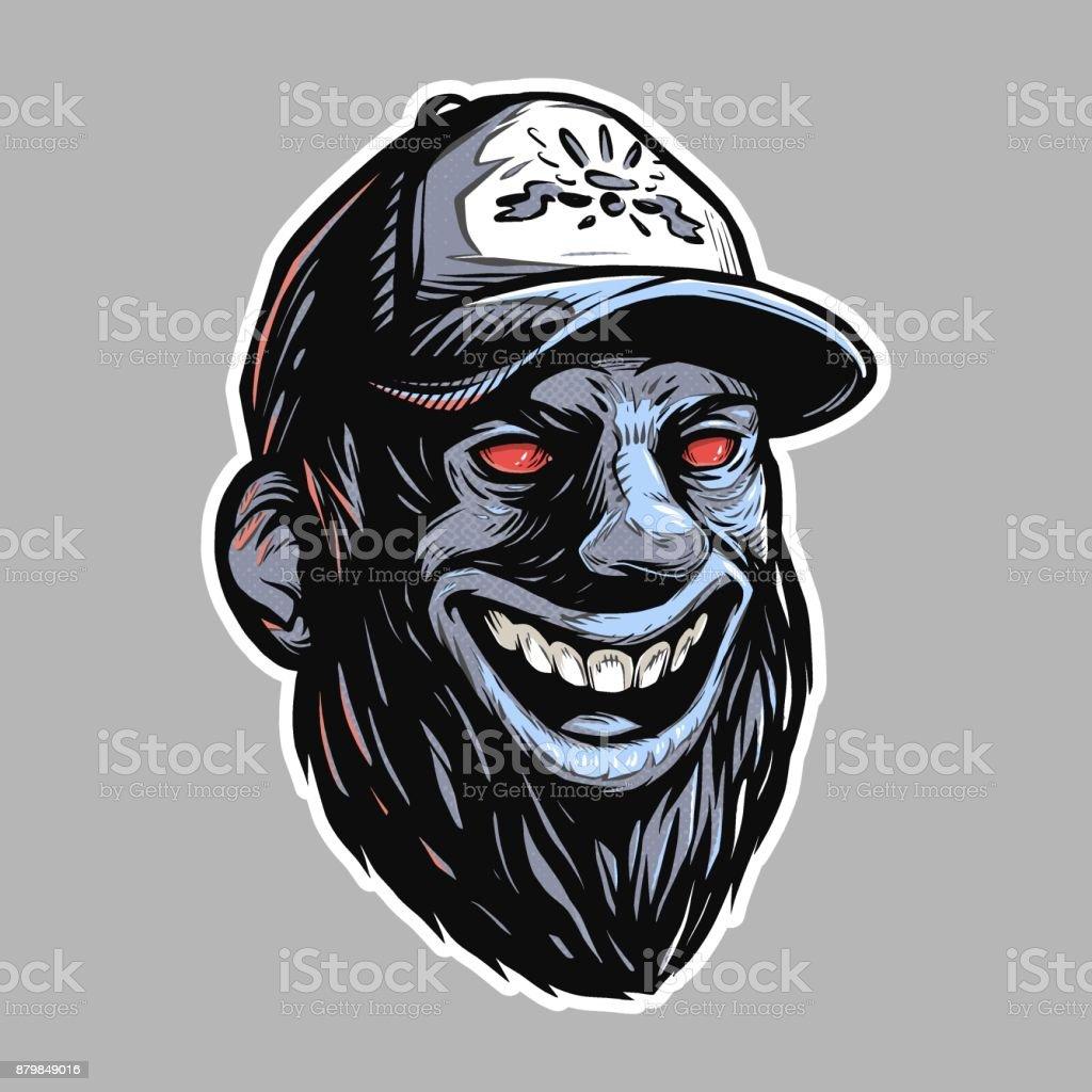 Bearded rednecks head with red evil eyes vector art illustration