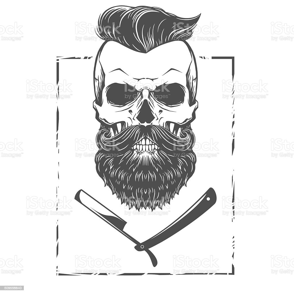 Caveira barbudo ilustração - ilustração de arte em vetor