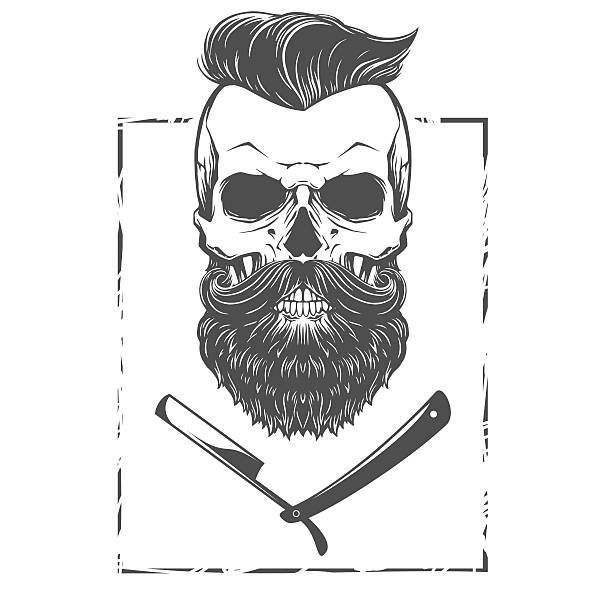 Bearded skull illustration vector art illustration