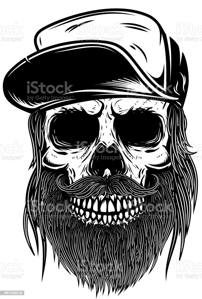 Barbudo calavera en la gorra de béisbol. Diseño de elemento de camiseta, poster, emblema, signo. Ilustración de vector - ilustración de arte vectorial