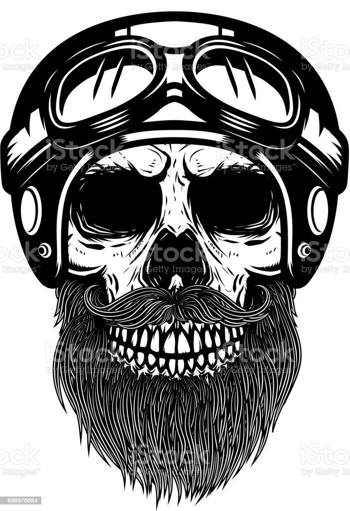Bearded skull in racer helmet. Design element for logo, label, emblem, sign, poster, banner. vector art illustration