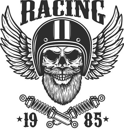 Bearded skull in racer helmet with wings and crossed springs. Design element for label, sign, emblem, poster, t shirt. Vector illustration